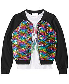 Beautees Big Girls 2-Pc. Reversible Sequin Bomber Jacket & Graphic-Print Tank Top Set