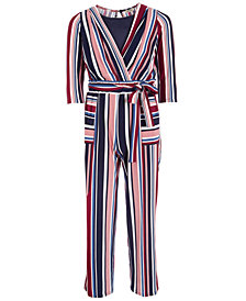 Monteau Big Girls Striped Bag-Waist Jumpsuit