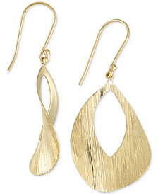 Textured Drop Earrings in 18k Gold over Sterling Silver