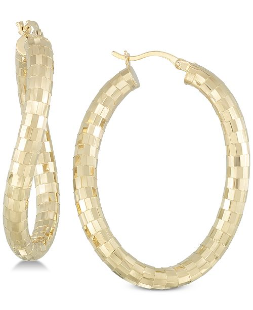 Simone I. Smith Textured Twist Hoop Earrings in 18k Gold over Sterling Silver