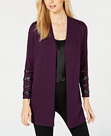 Alfani Sequin-Sleeve Open-Front Cardigan, Created for Macy's
