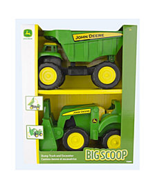 "Tomy - John Deere 15"" Big Scoop Dump Truck And Tractor Loader, 2 Pack"