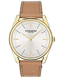 COACH Men's Preston Camel Leather Strap Watch 41mm