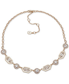 "Ivanka Trump Gold-Tone Stone & Crystal Link Collar Necklace, 16"" + 3"" extender"