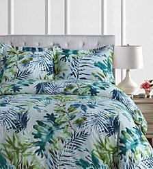 Madrid Printed Tropical Rainforest Oversized King Duvet Cover Set