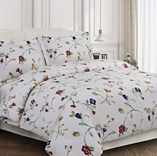 Floral Garden Cotton Flannel Printed Oversized King Duvet Set