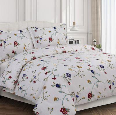 Merveilleux Tribeca Living Floral Garden Cotton Flannel Printed Oversized King Duvet Set