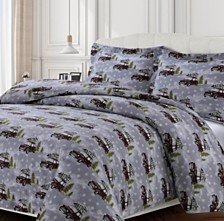 Winter Outing Cotton Flannel Printed Oversized Queen Duvet Set