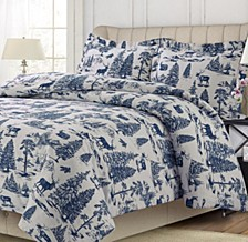 Mountain Toile Cotton Flannel Printed Oversized Queen Duvet Set