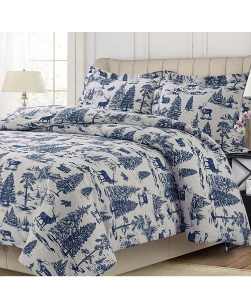 Tribeca Living Mountain Toile Cotton Flannel Printed Oversized Queen Duvet Set