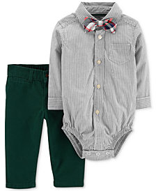 Carter's Baby Boys Striped Cotton Bodysuit, Pants & Bowtie Set