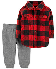 Carter's Baby Boys 2-Pc. Plaid Shirt & Jogger Pants Set