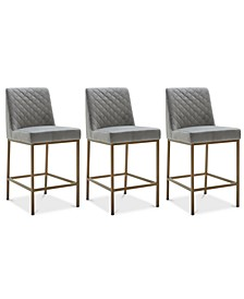 Cambridge Velvet Stool, 3-Pc. Set (3 Grey Counter Stools)