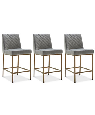Cambridge Velvet Stool, 3 Pc. Set (3 Grey Counter Stools) by Cambridge Dining Room Furniture Collection, Created For Macy's