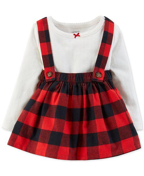 c6a6da0ad5f Carter s Baby Girls 2-Pc. Bodysuit   Plaid Suspender Skirt Set ...