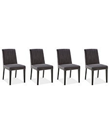 Elinor Velvet Channel Back Chair, 4-Pc. Set (4 Dark Gray Chairs)