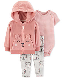 Carter's Baby Girls 3-Pc. Bear Hoodie, Striped Bodysuit & Bear-Print Pants Set