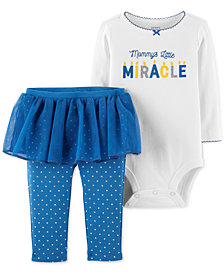 Carter's Baby Girls 2-Pc. Holiday Bodysuit & Skirted Leggings Set