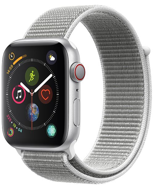 Apple Watch Series 4 AppleWatch Series4 GPS+Cellular, 40mm Silver Aluminum Case with Seashell Sport Loop