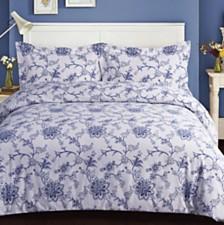 Floral Cotton Flannel Printed Oversized King Duvet Set