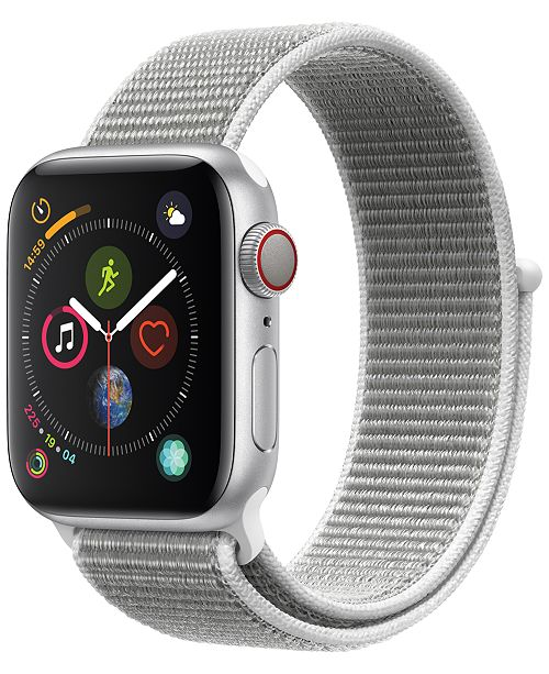 Apple Watch Series 4 AppleWatch Series4 GPS+Cellular, 44mm Silver Aluminum Case with Seashell Sport Loop