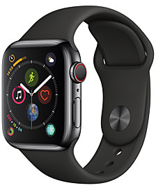 Apple Watch Series 4 GPS + Cellular, 44mm Space Black Stainless Steel Case with Black Sport Band