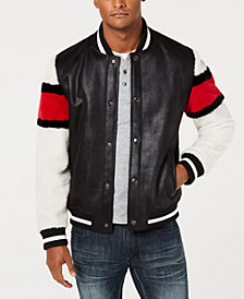 I.N.C. Men's Striped-Sleeve Varsity Fleece-Lined Jacket, Created for Macy's