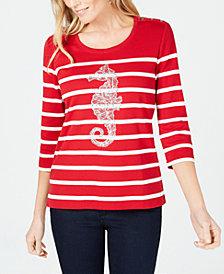 Karen Scott Embellished Seahorse Top, Created for Macy's