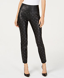 I.N.C. Studded Faux-Leather Skinny Pants, Created for Macy's