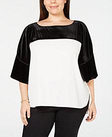Calvin Klein Plus Size Velvet-Combo Top