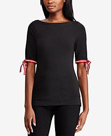 Ralph Lauren Petite Tie-Sleeve T-Shirt