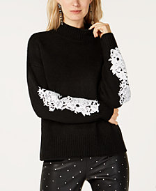 I.N.C Lace-Sleeve Mock-Neck Sweater, Created for Macy's