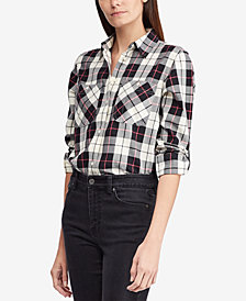 Lauren Ralph Lauren  Petite Twill Plaid Cotton Shirt