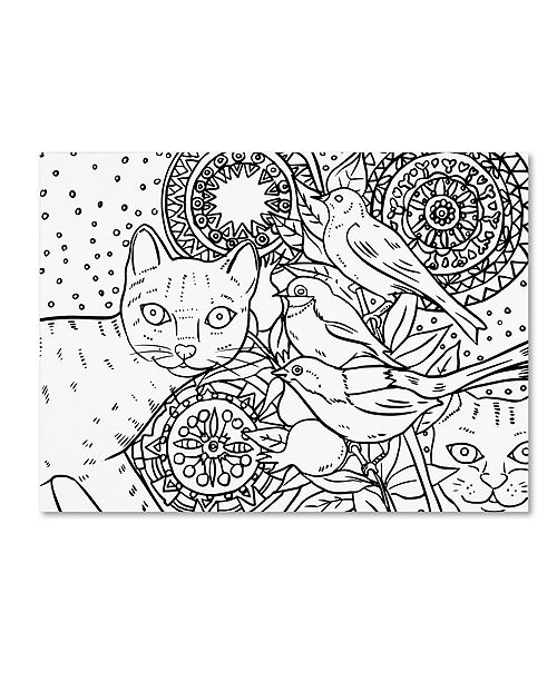 "Trademark Global Oxana Ziaka 'Mandala Cats: LINE ART' Canvas Art - 19"" x 14"" x 2"""