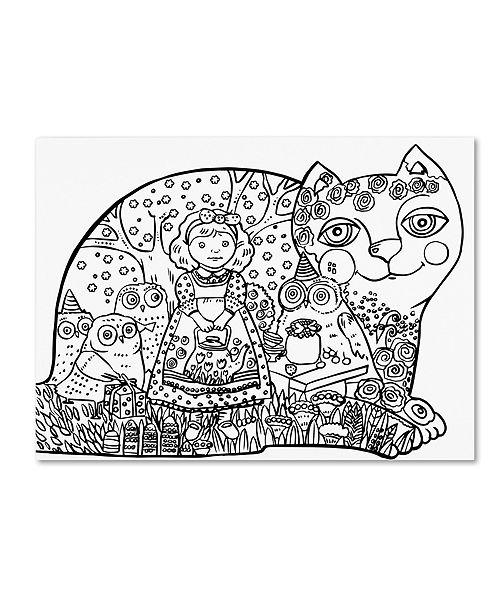 """Trademark Global Oxana Ziaka 'Happy Birthday: LINE ART' Canvas Art - 19"""" x 14"""" x 2"""""""