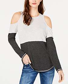 I.N.C. Colorblocked Cold-Shoulder Top, Created for Macy's