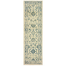 "Oriental Weavers Linden 7909A Ivory/Blue 2'3"" x 7'6"" Runner Area Rug"
