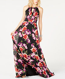 I.N.C. Printed Halter-Neck Maxi Dress, Created for Macy's
