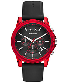 A|X Armani Exchange Men's Outer Banks Black Silicone Strap Watch 44mm