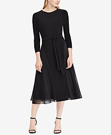 Petite Satin-Trim Midi Fit & Flare Dress