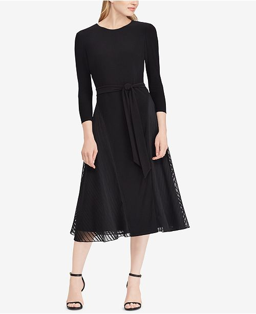 86f5b458798 Lauren Ralph Lauren Satin-Trim Midi Fit & Flare Dress & Reviews ...