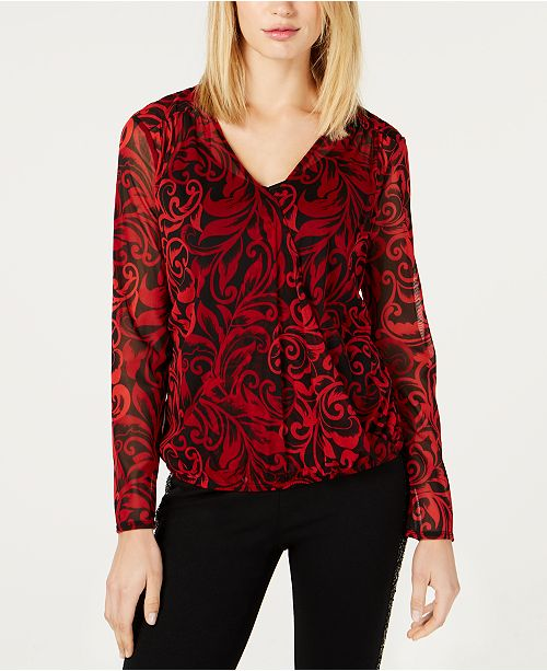 INC International Concepts I.N.C. Petite Printed Surplice Top, Created For Macy's