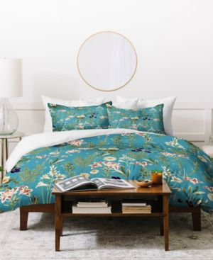83 Oranges Teal Botanical Garden Duvet Set Bedding 7111864