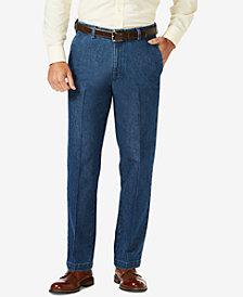 Haggar Men's Stretch Denim Classic-Fit Flat Front Pants