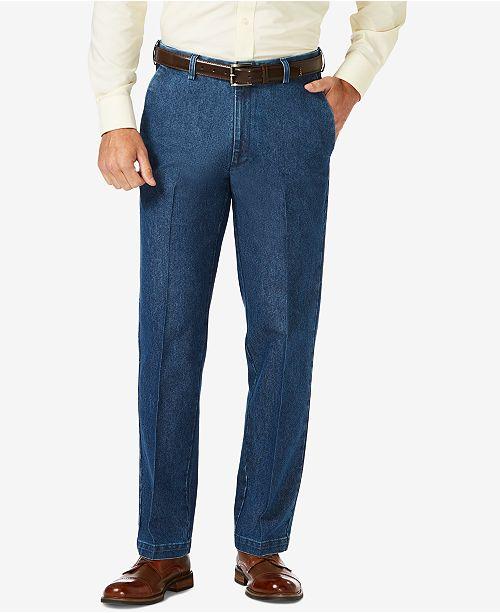 Haggar Men's Stretch Denim Classic-Fit Flat Front Pants