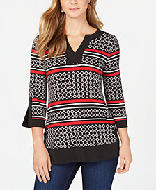Charter Club Petite Printed Split-Cuff Tunic, Created for Macy's