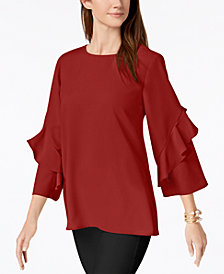 Alfani Petite Ruffled-Sleeve Zip-Back Top, Created for Macy's