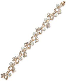 Anne Klein Gold-Tone Crystal & Imitation Pearl Flex Bracelet