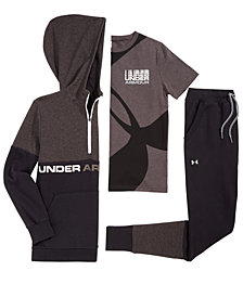 Under Armour Big Boys Double-Knit 1/2-Zip Hoodie, Graphic T-Shirt & Tapered Pants