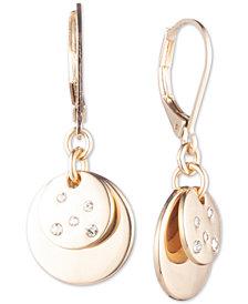 Anne Klein Gold-Tone Pavé Disc Drop Earrings